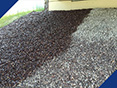Epoxy coated crushed aggregate versus uncoated crushed aggregate used for slope paving.