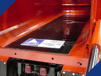 Fabick Poured-On® Liner used to protect the floor of a dump truck.