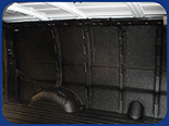 Fabick sprayed-on bedliner applied to the interior of a van.